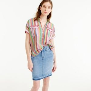 J Crew Short-sleeve popover shirt  in candy stripe